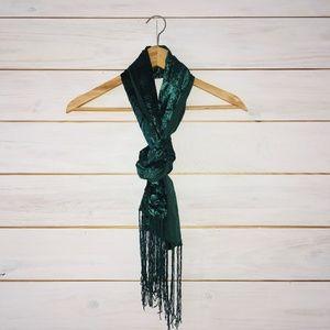 Green velvet fringe scarf 12 x 60